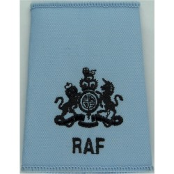 Royal Air Force Band Collar Badge - Eagle & Crown FL On Dark Blue Queen's Crown. Mylar Air Force Branch Badge