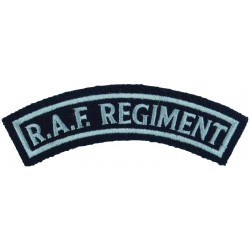 RAF Regiment - Curved Shoulder Title On Dark Blue Post-72  Embroidered Air Force Branch Badge