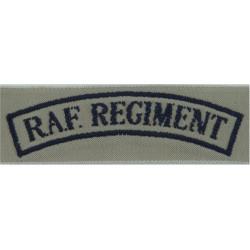 RAF Regiment Shoulder Title (1972 Tropical Pattern) Dark Blue On Sand  Woven Air Force Branch Badge