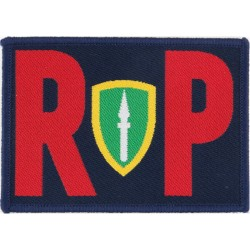 Royal Engineers: 75 Engr Regt: 143 Plant Squadron Black Hare On Olive Woven Regimental cloth arm badge