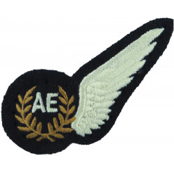 RAF Brevet - AE (Air Electronics) Half-Wing Padded  Embroidered Air Force Branch Badge