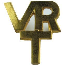 VR/T (Royal Air Force Volunteer Reserve (Training)) Collar Badge - 21mm  Gilt Air Force Branch Badge