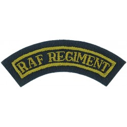 RAF Regiment - Curved Shoulder Title Small For Mess Kit  Bullion wire-embroidered Air Force Branch Badge