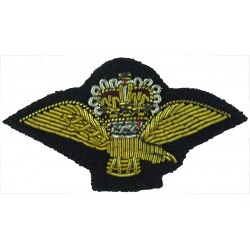 Royal Air Force Band Collar Badge - Eagle & Crown FR On Dark Blue with Queen Elizabeth's Crown. Bullion wire-embroidered Air For
