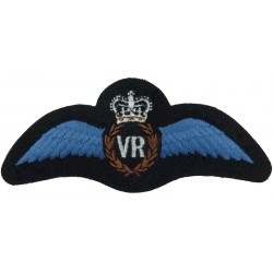 RAF VR Senior Flying Instructors Pilots Wings  with Queen Elizabeth's Crown. Embroidered Air Force Branch Badge