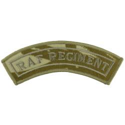 RAF Regiment - Curved Shoulder Title Brown On Desert Camo  Embroidered Air Force Branch Badge