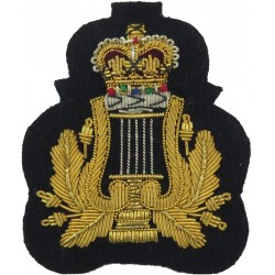 RAF Band - Lyre & Crown - Small - Musician Gold On Dark Blue with Queen Elizabeth's Crown. Bullion wire-embroidered Air Force Br