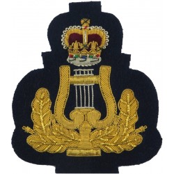 RAF Band - Lyre & Crown - Large - Bandmaster - Rare Gold On Dark Blue with Queen Elizabeth's Crown. Bullion wire-embroidered Air