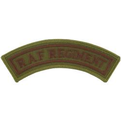 RAF Regiment - Curved Shoulder Title - Desert Dark Brown On Brown  Embroidered Air Force Branch Badge