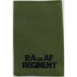 RAuxAF Regiment Epaulette Slide Black On Olive Green  Embroidered Air Force Branch Badge