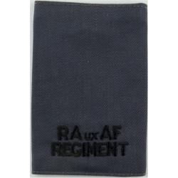 RAuxAF Regiment Epaulette Slide Black On RAF Blue  Embroidered Air Force Branch Badge