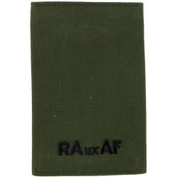 RAuxAF Epaulette Slide Black On Olive Green  Embroidered Air Force Branch Badge