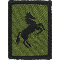 Royal Engineers: 21 Regiment: 7 (HQ) Squadron Black Horse On Olive  Woven Regimental cloth arm badge