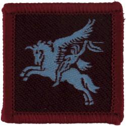 14th/20th King's Hussars (Crossed Gurkha Kukris) Introduced Jan 1947 Bullion wire-embroidered Regimental cloth arm badge