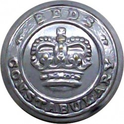 Bedfordshire Constabulary 17.5mm - 1952-1966 with Queen Elizabeth's Crown. Chrome-plated Police or Prisons uniform button