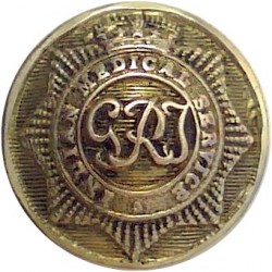 Indian Medical Service - GRI - GviR - 1936-1952 17mm - GRI with King's Crown. Brass Military uniform button
