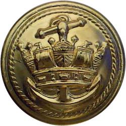 Merchant Navy (Roped Inner: Plain Outer Rim) 22.5mm - Shiny Gold  Plastic Merchant Navy or Shipping uniform button