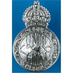 Campaigners (Unto Him - Through And Through) Cap Badge with King's Crown. Chrome-plated