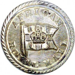 African Royal Mail - Shipping Button - Roped Rim 21.5mm with Queen Victoria's Crown. Silver-plated Merchant Navy or Shipping uni