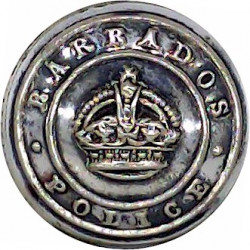 Barbados Police (Crown In Worded Circlet) 18mm - Pre-1952 with King's Crown. Silver-plated Police or Prisons uniform button