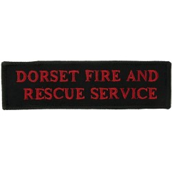 Dorset Fire And / Rescue Service - Shoulder Title Red On Navy Blue  Embroidered Fire and Rescue Service insignia