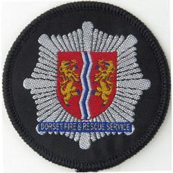 Dorset Fire And Rescue Service Star On Black Disc  Woven Fire and Rescue Service insignia