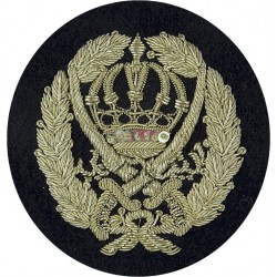 Jordan Police - With Scimitars Silver On Navy Blue  Bullion wire-embroidered Military Blazer Badge