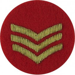 Sergeant's Rank Stripes - WRAC Tropical Mess Dress On Small Red Disc  Bullion wire-embroidered NCO or Officer Cadet rank badge