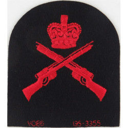 Crossed Rifles + Crown (CCF RN .303 Marksman) Red On Navy Blue with Queen Elizabeth's Crown. Embroidered Naval Branch, rank or m