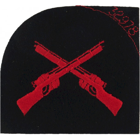 Royal Marines Marksman: Crossed Rifles Red On Navy  Embroidered Marines or Commando insignia