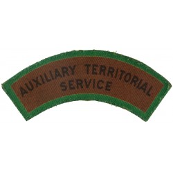 Auxiliary Territorial / Service (Black On Brown With Green Border) - ATS  Printed Sew-on Army cloth shoulder title