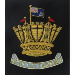 Royal Fleet Auxiliary Blazer Badge Scroll Below Crown  Bullion wire-embroidered Military Blazer Badge
