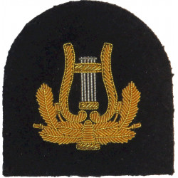 Royal Marines Band - Lyre (without Crown) Trade: Gold On Navy  Bullion wire-embroidered Marines or Commando insignia