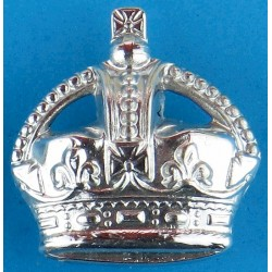 Police Force General Pattern (Crown Only) Cap Badge - Pre-1952 with King's Crown. Chrome-plated Police or Prisons hat badge