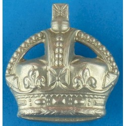 Police Force General Pattern (Crown Only) Cap Badge - Pre-1952 with King's Crown. White Metal Police or Prisons hat badge