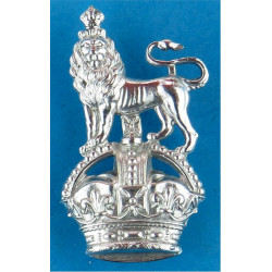 War Department Constabulary Collar Badge Crown Over Lion FL with King's Crown. Chrome-plated UK Police or Prison insignia