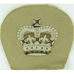 Colour Sergeant's Rank Crown - Royal Marines White On Sand with Queen Elizabeth's Crown. Embroidered Marines or Commando insigni