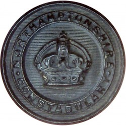 Northamptonshire Constabulary - Black 24.5mm - Pre-1952 with King's Crown. Horn Police or Prisons uniform button