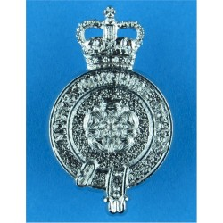 North Yorkshire Police Collar Badge with Queen Elizabeth's Crown. Chrome-plated UK Police or Prison insignia