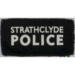 Strathclyde Police Sleeve Badge Title On Rectangle  Rubberised UK Police or Prison insignia