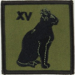 Royal Signals: 15 Signal Regiment XV Red Cat / Blue Embroidered Regimental cloth arm badge