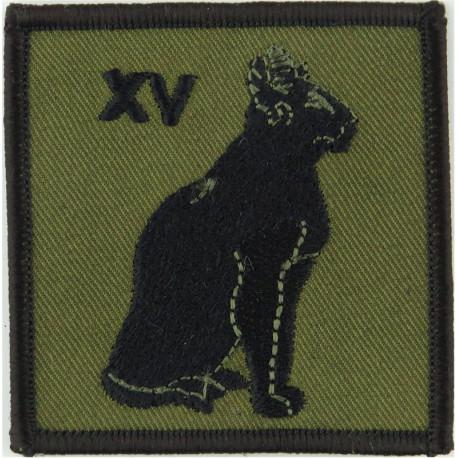 Royal Signals: 15 Signal Regiment XV Red Cat / Blue  Embroidered Regimental cloth arm badge