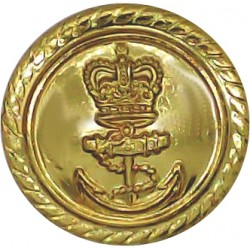 Royal Navy - Officers (Roped Rim) For Mess Waistcoat 17mm - Gold Colour with Queen Elizabeth's Crown. Anodised Staybrite militar