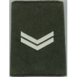 Corporal Rank Badge For Royal Marines Raincoat White On Lovat Green  Embroidered Marines or Commando insignia