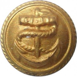 Anchor On Lined Background With Roped Rim 19mm  Brass Merchant Navy or Shipping uniform button