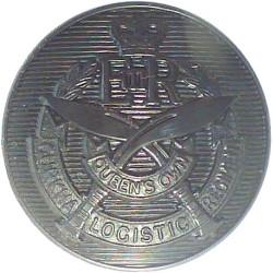 Queen's Own Gurkha Logistic Regiment - Post-2001 25mm - Black with Queen Elizabeth's Crown. Plastic Military uniform button