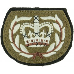 WO2 (RQMS) Rank Badge (Staffords - With Laurels) Sewn Onto Black with Queen Elizabeth's Crown. Embroidered Warrant Officer rank