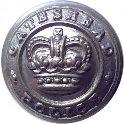 Gateshead Police 17.5mm - 1952-1968 with Queen Elizabeth's Crown. Chrome-plated Police or Prisons uniform button