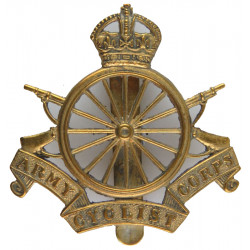 Army Cyclist Corps - 16-Spoke Pattern 1908-1920 with King's Crown. Brass Other Ranks' metal cap badge