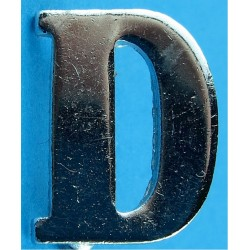 Police Shoulder / Collar Letter D   Chrome-plated UK Police or Prison insignia